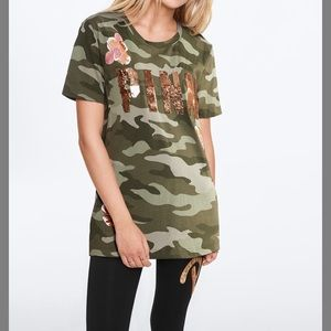 PINK CAMO FLORAL BLING CAMPUS SHORT SLEEVE TEE